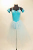Ballet tutu dress has glitter velvet pinch front leotard & detachable pull-on pouf sleeves. Has attached crystal blue tulle layered skirt & crystal hair piece. Front