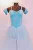 Ballet tutu dress has glitter velvet pinch front leotard & detachable pull-on pouf sleeves. Has attached crystal blue tulle layered skirt & crystal hair piece. Front Zoom
