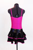 Metallic fuchsia pinch front camisole leotard has black sequined applique front. Comes with shiny black & fuchsia ruffled, skirt &matching hair accessory. Back