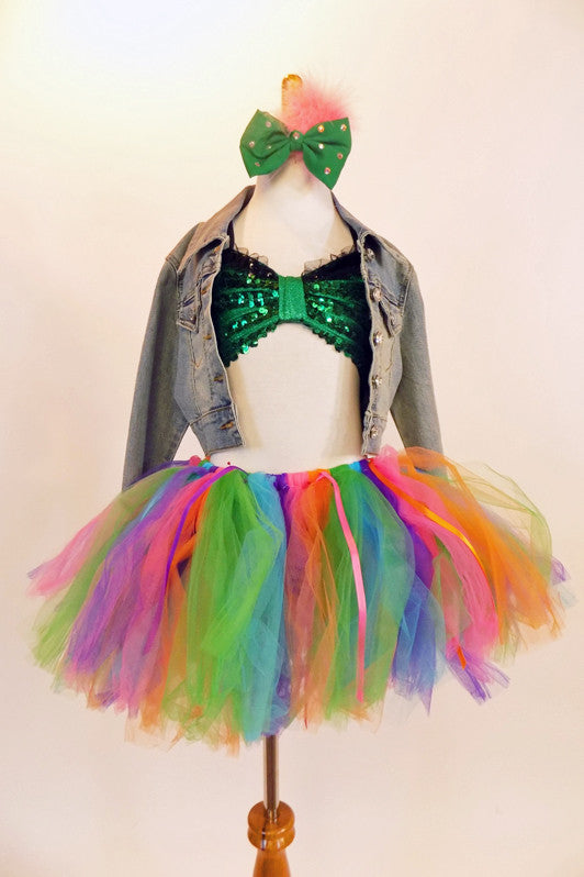 Green sequined bra top &jean jacket with large dollar symbol on back. Bottom is a pull on tulle- ribbon  rainbow tutu & separate short. Matching hair piece. Front