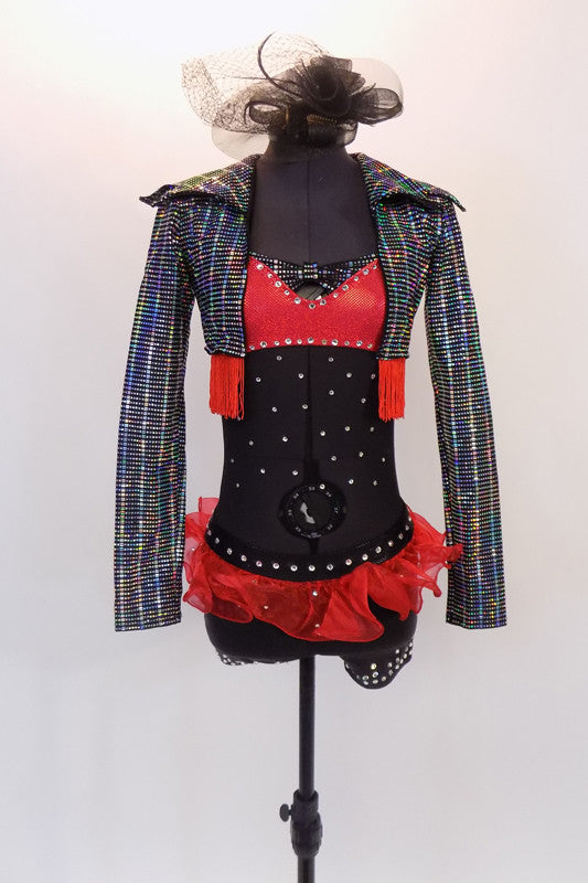 Black sheer leotard has red bra and black shorts & red organza hip ruffle. Many Swarovski crystals. Comes with iridescent  waistcoat with red fringe trim. Front