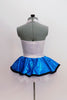 White halter collar leotard has black bow accent at front. Comes with a pull-on, turquoise skirt, that has a matching black edge & an attached white petticoat. Back
