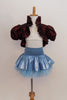 White velvet bra-top with gold pattern has burgundy iridescent taffeta shrug with wide ruffle and large pouf sleeves.Skirt is light blue with petticoat & panty.Front