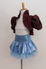 White velvet bra-top with gold pattern has burgundy iridescent taffeta shrug with wide ruffle and large pouf sleeves.Skirt is light blue with petticoat & panty.Side
