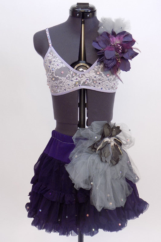 Custom costume is dark purple layered petticoat skirt with l hip decoration & lace lavender briefs. Lavender lace bra has purple floral accent & ruffled tulle. Front Zoom
