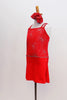 Red camisole style leotard dress has silver firework motif with crystal centers & straps that criss-cross around crystal ring on back. Has matching hair piece. Side