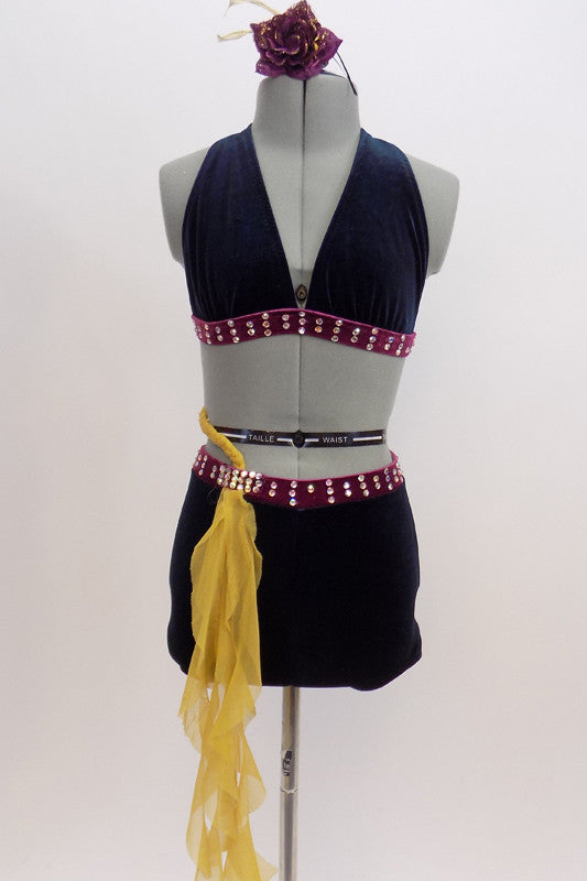 Navy blue & purple velvet two piece costume has yellow mesh braiding from back to front of the hip cascading down.  Short & bra bands are adorned with crystals. Comes with hair accessory. Front zoomed
