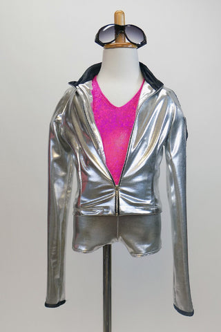 Silver jacket with matching shorts has zip front .. Separate hot pink halter style top to go under the jacket. Rhinestone sunglasses complete the look Front