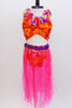 Orange & and red floral, pinch front, bikini has the feel of the tropics. Comes with Hawaiian lei and neon-pink, grass skirt with purple sequined waistband. Front Zoom