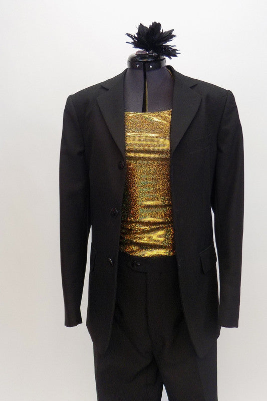 Black, fully lined Italian 2-piece suit has  button front blazer. It comes with a gold halter full stretch top and matching black hair accessory. Front zoom