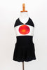 Themed costume, black stretch halter unitard dress has Japanese flag on front bodice. Front