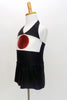Themed costume, black stretch halter unitard dress has Japanese flag on front bodice.