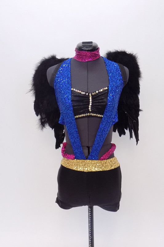 Black bra top has blue sequined halter attachment . The black shorts have a gold and magenta sequined waist band. Comes with a large detachable pair of  wings. Front