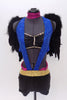 Black bra top has blue sequined halter attachment . The black shorts have a gold and magenta sequined waist band. Comes with a large detachable pair of  wings . Front Zoom