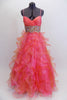 Full length A-line Mac Duggal , coral organza gown, has layers of curly organza ruffles, ruched crossover bust a and a wide Swarovski crystal waistband. Front
