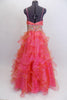 Full length A-line Mac Duggal , coral organza gown, has layers of curly organza ruffles, ruched crossover bust a and a wide Swarovski crystal waistband. Back