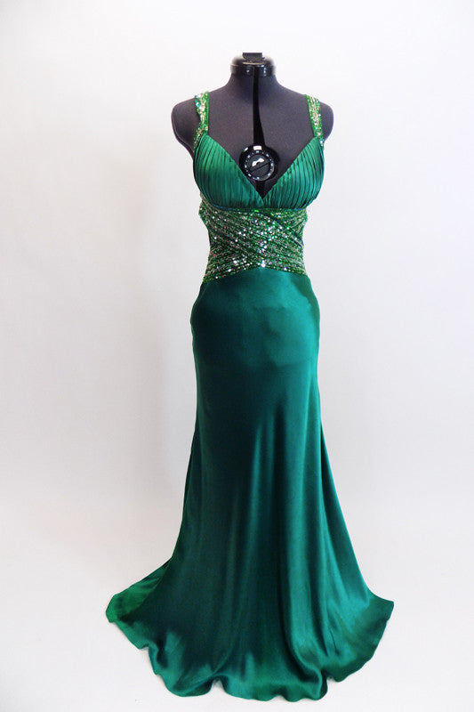 Deep emerald green satin full length Madeline's gown with fitted cup (B/C). The waist and straps are made from beaded & sequined sheer & extent to low open back. Front