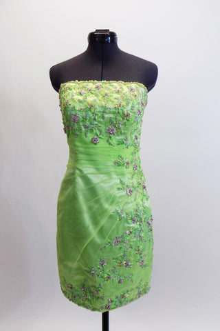 Custom designed pale green above the knee fitted dress, has ruched chiffon, extensively covered with beaded embroidered lace of pale pink and silver flowers. Front