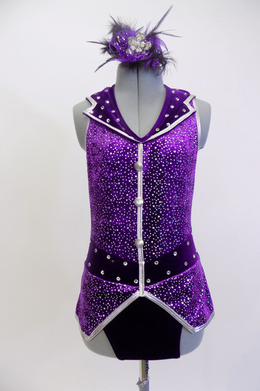 Purple sparkle halter leotard with silver, buttons & piping. Waistband and collar, are adorned with large  Swarovski crystals. Has crystal & feather hair piece.  Front