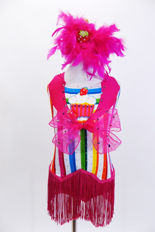Bright striped  unitard has hot pink collar, large cupcake applique & large pink bow with crystals. There is an attached pink fringe skirt & feather hair piece. Front