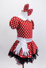Red and white polk-a-dot dress has black petticoat with red sequin trim.Has white belt,collar & gloves. Comes with matching polk-a-dot hair bow. Side