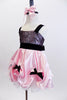 Pink satin dress is scalloped over white petticoat withk bows. Bodice has  black sequined lace overlay with pink crystals Has crystal covered pink hair bow. NEW Side
