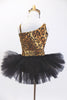 Cheetah print one shoulder tank leotard has pull-on black tutu. Fringed overlay can be worn separately. Has crystal broach accent & matching hair accessory NEW. Back
