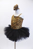 Cheetah print one shoulder tank leotard has pull-on black tutu. Fringed overlay can be worn separately. Has crystal broach accent & matching hair accessory NEW. Side