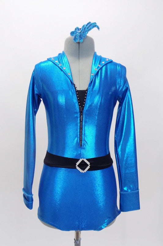 The bright blue metallic mechanic style jump suit unitard has long sleeves, crystalled collar & jeweled zipper. Comes with crystal  belt & sequined hair accessory Front