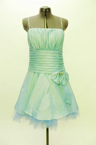 Mint green lined & boned taffeta Chicas mini dress has spaghetti straps and ruched bust area Wide pleated satin waistband has a large bow with crystal accents. Front