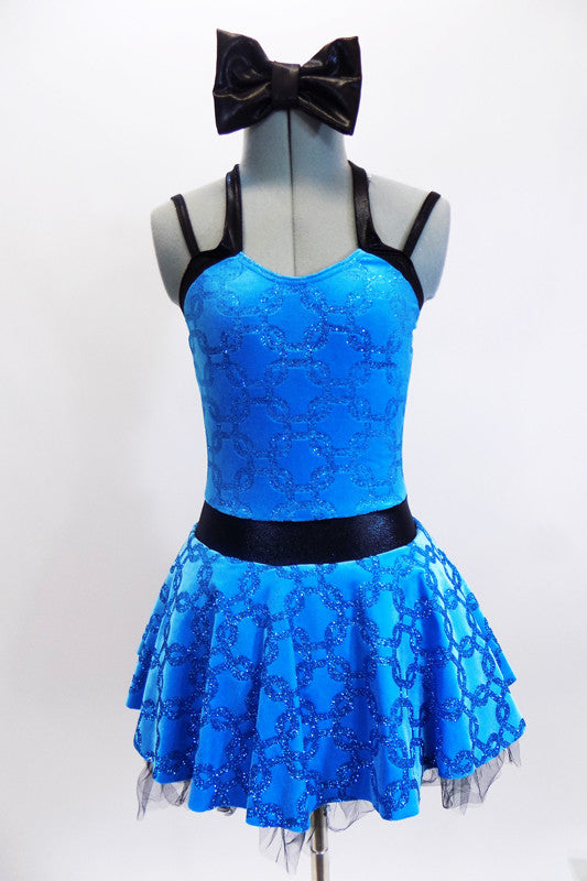 Bright aqua-blue patterned leotard dress has black waistband, double shoulder straps and a matching black hair bow. Front zoom