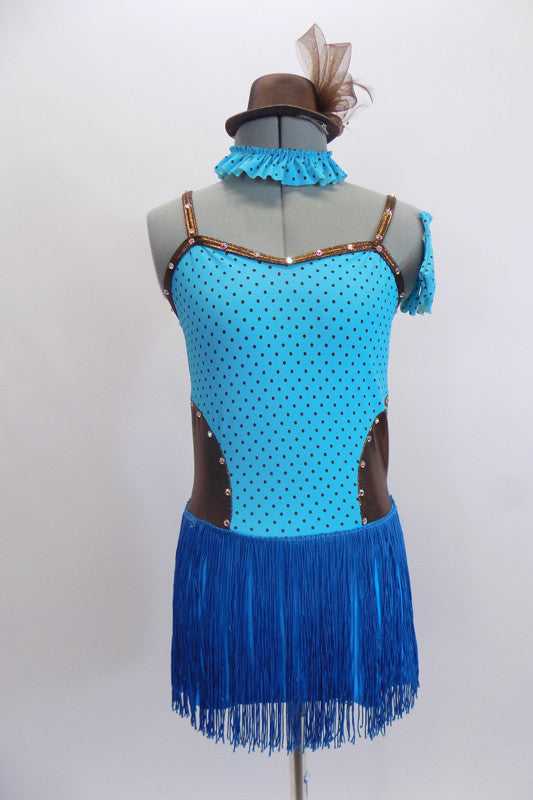 Pale blue & pewter leotard dress has tiny brown polk-a-dots on front. The skirt is  turquoise fringe. Comes with gauntlets, choker & small  pewter top hat. Front
