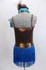 Pale blue & pewter leotard dress has tiny brown polk-a-dots on front. The skirt is  turquoise fringe. Comes with gauntlets, choker & small  pewter top hat. Back