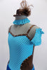 Pale blue & pewter leotard dress has tiny brown polk-a-dots on front. The skirt is  turquoise fringe. Comes with gauntlets, choker & small  pewter top hat. Front Zoom