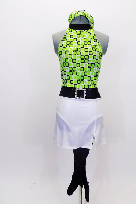 Green 60's inspired halter neck leotard has attached stretch white skirt with belt & crystal buckle. Comes with matching headband and pull on go-go boot covers. Front