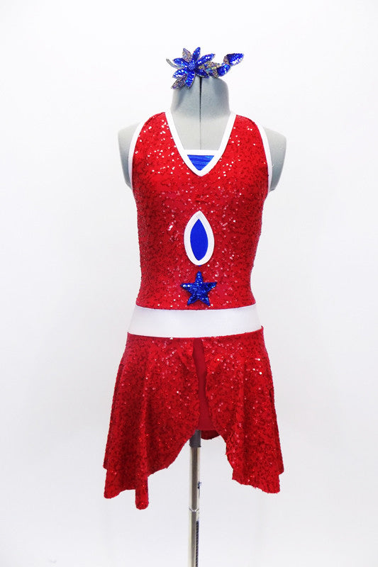 Red sparkle stretch leotard dress had halter type collar with white piping. The dress has blue peek-a-boo inserts, a blue star & matching blue hair accessory. Front