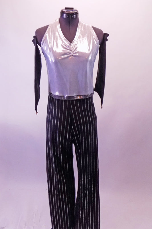 Silver and black pin-stripe unitard has a silver halter top with gathering at the bust. The pants are a straight cut for comfort and the fabric stretches easily. Front