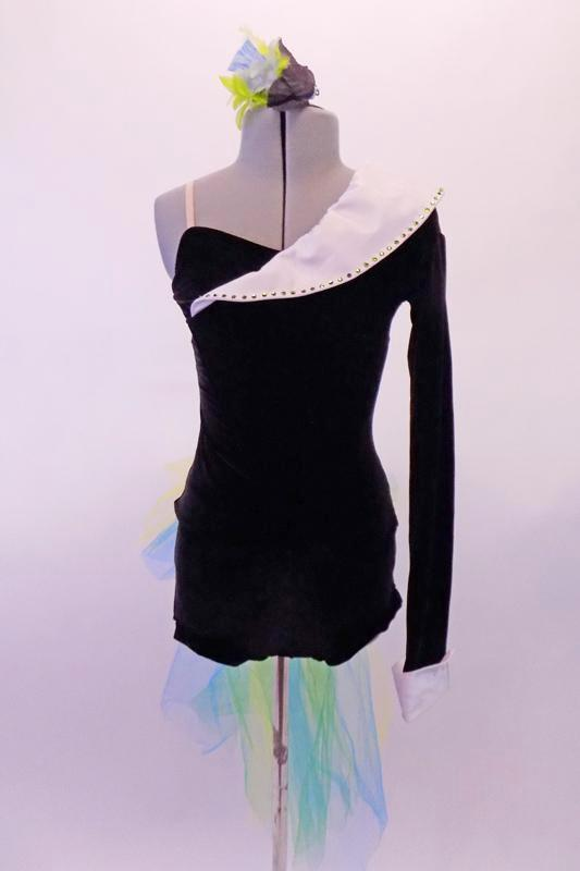 Black velvet top has one long sleeve and shoulder with a white crystallised shawl collar. The matching black velvet short has a blue-green and yellow tulle bustle bow. Comes with a hair accessory. Front