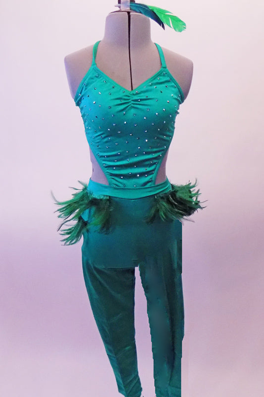 Fun emerald green full unitard has crystalled front and open sides and back. Green feathers adorn the sides and back of the hips. Comes with a feather hair accessory. Front