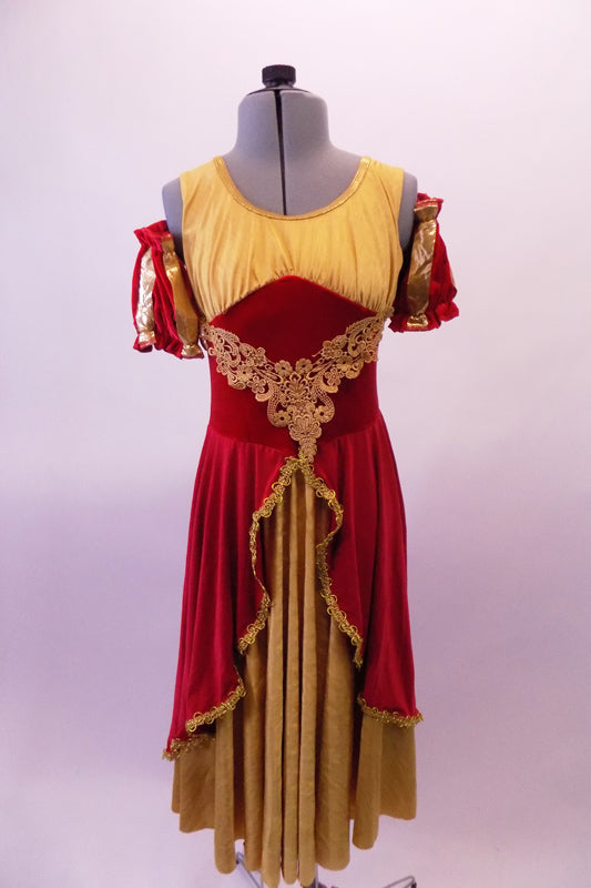 Gold and burgundy royal court dress has a gathered bust and gold lace brocade front with pouffe pull-on sleeves. The burgundy overlay opens at the front revealing the gold beneath edged in gold rope accent. Front