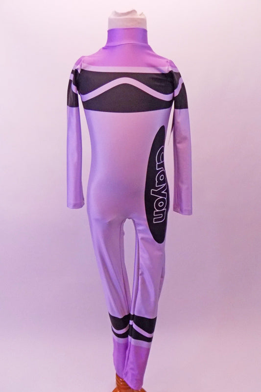 Purple high halter collared, long.-sleeved full unitard Has all the markings of a life sized-crayon. Front