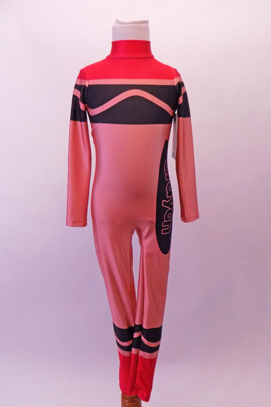 Red high halter collared long-sleeved full unitard has all the markings of a life sized-crayon. Front