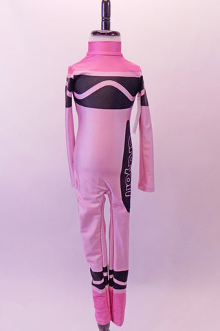 Pink high halter collared, long-sleeved full unitard Has all the markings of a life sized-crayon. Front
