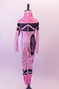 Pink high halter collared, long-sleeved full unitard Has all the markings of a life sized-crayon . Back