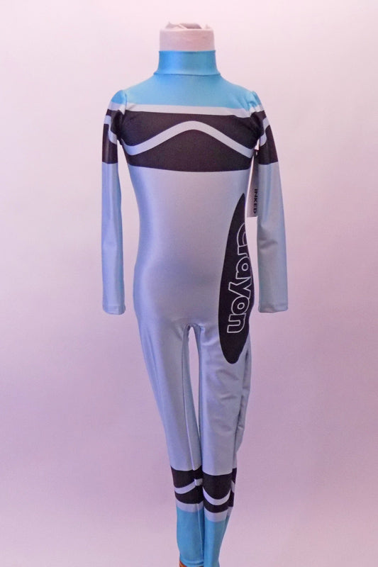 Blue High Collared, Long-Sleeved Full Unitard. For Sale