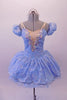 Cinderella-blue tutu dress has a sheer silver floral lace overlay. A wide iridescent sequined applique accents the V-insert nude front. The sweetheart bust had double v-straps that merge to a single adjustable strap at back. Comes with a crystal tiara. Front