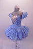 Cinderella-blue tutu dress has a sheer silver floral lace overlay. A wide iridescent sequined applique accents the V-insert nude front. The sweetheart bust had double v-straps that merge to a single adjustable strap at back. Comes with a crystal tiara. Side