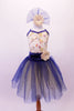 Pretty romantic tutu has a cream-based bodice with gold sequined lace overlay. The deep blue trim and cross straps match the long crystal blue and cream romantic tutu with wide cummerbund waistband. Comes with matching floral hair accessory. Front