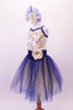 Pretty romantic tutu has a cream-based bodice with gold sequined lace overlay. The deep blue trim and cross straps match the long crystal blue and cream romantic tutu with wide cummerbund waistband. Comes with matching floral hair accessory. Side