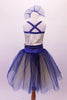 Pretty romantic tutu has a cream-based bodice with gold sequined lace overlay. The deep blue trim and cross straps match the long crystal blue and cream romantic tutu with wide cummerbund waistband. Comes with matching floral hair accessory. Back